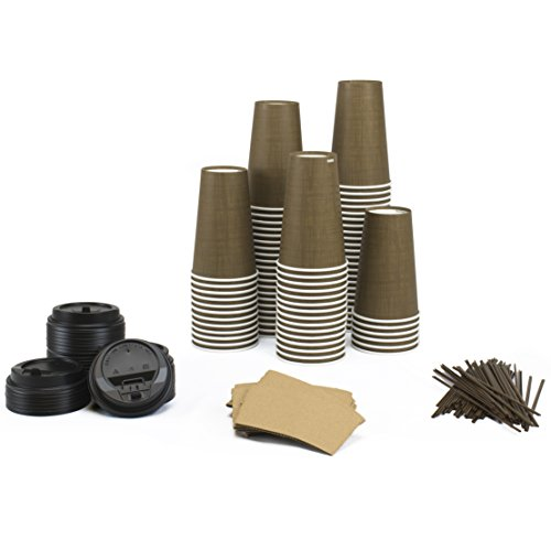 Paper Hot Cups Sets (100 Count) - 16 oz Cups, Lids, Sleeves, Straws - Office Pack of Insulated Coffee Cups