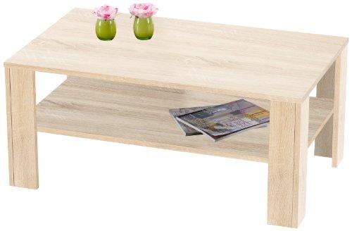 Presto mobilia 11028 Couchtisch Wohnzimmertisch Tisch Carla 25 100x60x44 cm Sonoma Eiche hell/Eiche sägerau hell