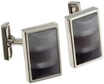 Kenneth Cole Mens Shades Of Gray Mosaic Fiber Optic Glass Rectangle Cufflinks, Gray, One Size