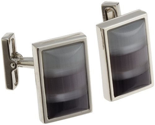 Kenneth Cole New York Mens Shades Of Gray Mosaic Fiber Optic Glass Rectangle Cufflinks