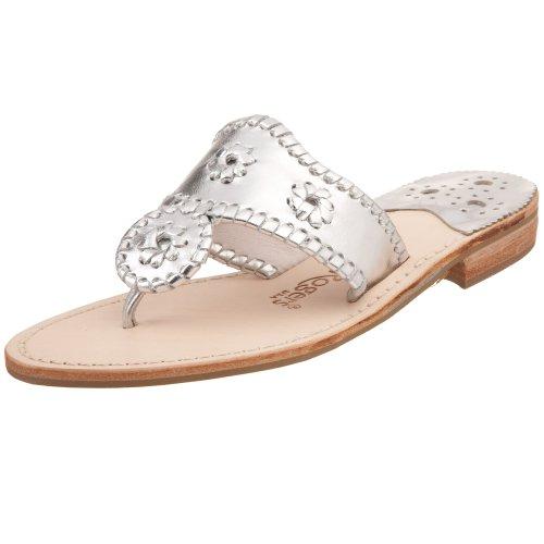 Jack Rogers Women's Navajo Hamptons Sandal,Silver,7 M