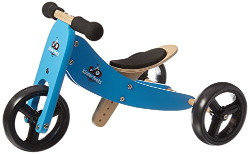 Best Buy! Kinderfeets Tiny Tot Blue Wooden Balance Bike/Tricycle