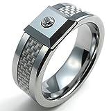 Gnzoe Bijoux,Hommes Tungsten Anneaux Bandes Carbon Fiber Carbide CZ Bandes Blanc Silver Largeur 8mm Taille 66.5