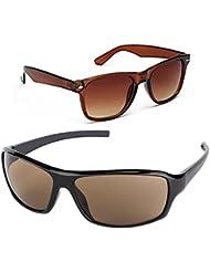 New Stylish UV Protected Combo Pack Of Sunglasses For Women / Girl ( BrownWayfarer-BrownWrap ) ( CM-SUN-050 )