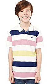 Pure Cotton Neon Striped Polo Shirt with Stay New&#8482;