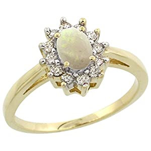 14K Yellow Gold Natural Opal Flower Diamond Halo Ring Oval 6X4mm, size 7.5