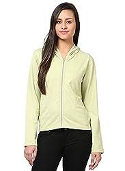 GRAIN Light Green Color Regular fit Cotton Jackets for Women