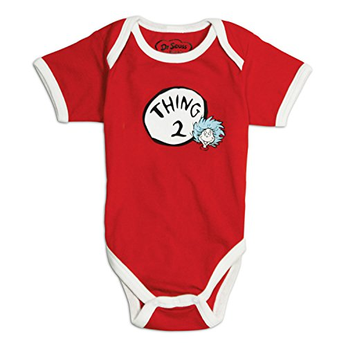 Dr. Seuss by Bumkins, Classic Short Sleeve Bodysuit-Thing 2, 6 Months