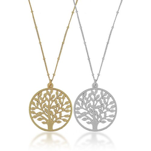 High-Fashion Brass or Silver Tone Tree of Life Pendant Necklace-46 + 5 CM