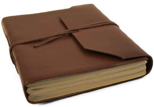 Diario Indra realizzato a mano in pelle, pagine 100% cotone, sacca regalo in tela gratuita (15cm x 20cm)