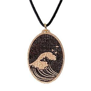 Hokusai Wave Oval Dark Patina Pendant Necklace on Adjustable Natural Fiber Cord