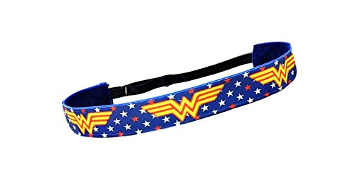 RAVEbandz Exclusive Fashion Headbands (WONDER WOMAN) - Adjustable, Non-Slip Sports & Fitness Hair Bands for Women and Girls