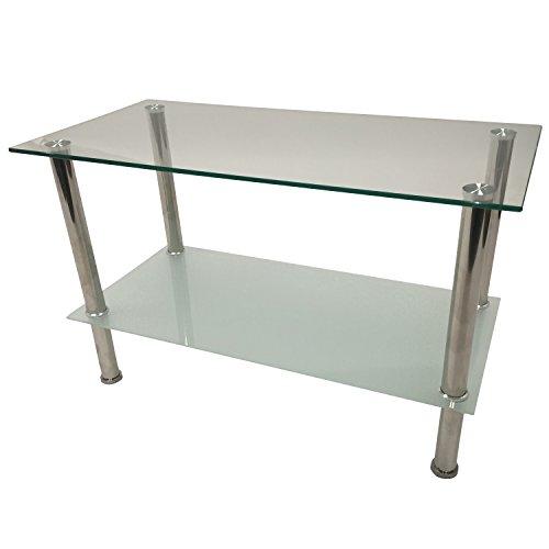 Beistelltisch-QUEENS-80x40x50cm-Edelstahl-Glas
