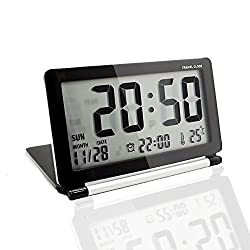 KLAREN Multifunction Silent LCD Digital Large Screen Travel Desk Electronic Alarm Clock, Date/Time/Calendar/Temperature Display, Snooze, Folding Black & Silver