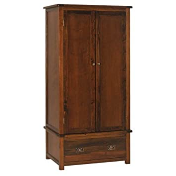 BOSTON 2 door/1 drawer wardrobe in dark antiqued pine