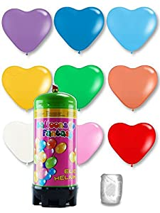 Helium Ballongas Einwegpatrone mit 15 bunt gemischten Herzballons ø30 cm, Schwebezeit bis 8 Std.,Tragkraft: 4 g