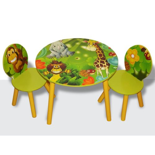 Kids Wooden Round Table and Chairs Set with Storage - Jungle Theme