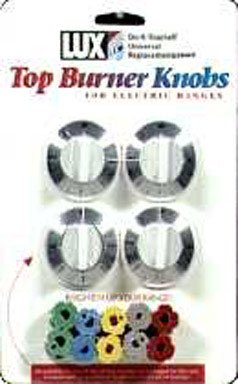 Lux Replacement Top Burner Knobs Universal - Electric Ranges White Card Of 4