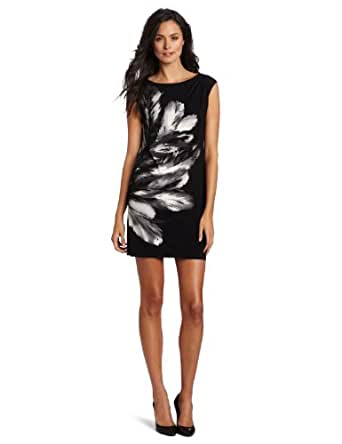 Maggy London Women's Matte Jersey Side Placement Dress, Black/Grey, 6