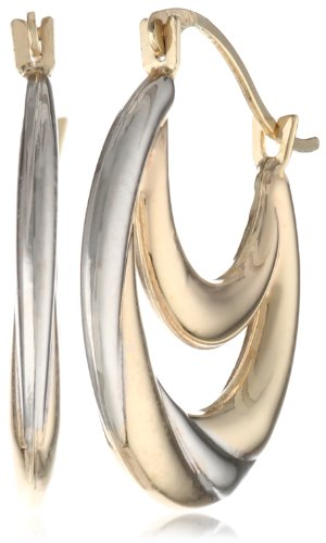 10K Two-Tone Gold Stampato Hoop Earrings