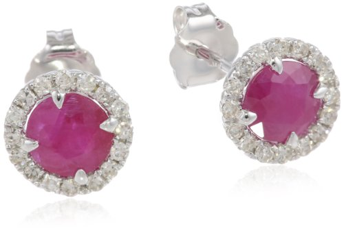 14k White Gold Ruby and Diamond Halo Stud Earrings (1.20 cttw, H-I Color, I1-I2 Clarity)