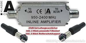 SAT-Inline-Verstärker, IN-LINE, 20dB, Leitungsverstärker 950-2400MHz inkl. F-Stecker und Wetterschutz