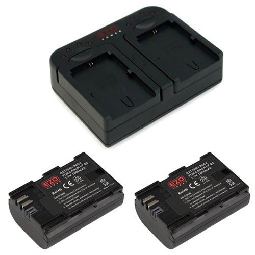 EZOPower 2x Digital Camera Replacement Battery + Dual Battery Charger for Canon LP-E6, EOS 70D , 60Da, 60D, 7D, EOS 6D, EOS 5D Mark III, 5D Mark II Digital Camera