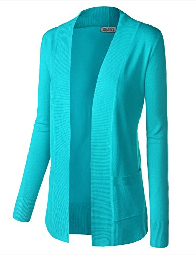 BIADANI Women Classic Soft Long Sleeve Open Front Cardigan Sweater Aqua Medium