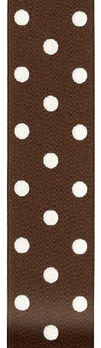 Offray Polka Dot Grosgrain Craft Ribbon, 1-1/2-Inch Wide by 50-Yard Spool, Brown