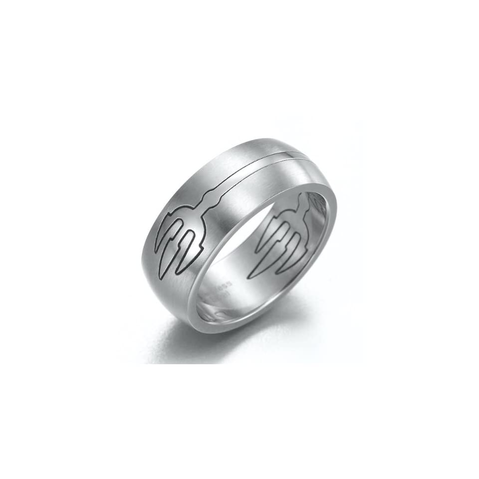 Mens Devil Trident Stainless Steel Ring Silver Band 8mm (10)