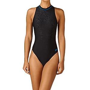 zoggs cabarita maillot de bain col haut pour femme noir noir bleu 86 4 cm sports. Black Bedroom Furniture Sets. Home Design Ideas