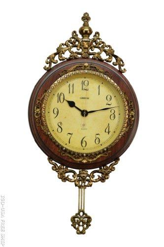 Fabulous Antique Decorative 24X15 Polyresin Hand-Painted Wall Clock w/Swinging Pendulum - Brown & Bronze