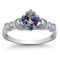 Rhodium Plated Sterling Silver Wedding & Engagement Ring Rainbow Topaz CZ Claddagh Ring 9MM ( Size 3 to 10) by Double Accent