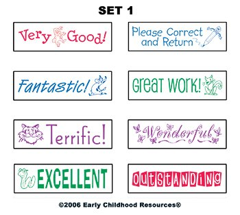 6 Pack EARLY CHILDHOOD RESOURCES LLC SELF-INKING TEACHER STAMPS SET 2