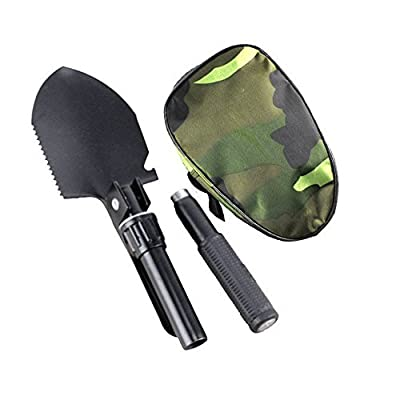 Ezyoutdoor Military Portable Folding Camping Shovel Survival Spade Trowel Dibble Pick Emergency Garden Outdoor Tool with Gift Hat
