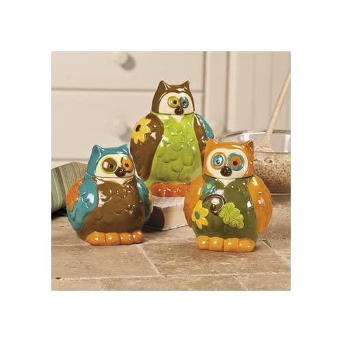Amazon.com - Ceramic Painted Owl Canisters - Set of 3 - Kitchen