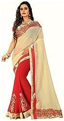 WXW Fashion Premium Beige & Red Georgette Saree with Blouse Piece