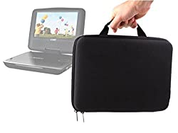 DURAGADGET Classic Black Durable & Rigid Protective EVA Shell Carry Case With Handle For Coby Swivel Screen Portable DVD Player 10.2