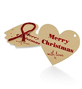 6 Die-Cut Merry Christmas Heart Christmas Gift Tags