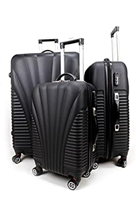 Hard Shell 4 Wheel Spin Suitcase Abs Luggage Case Cabin - Black Set Of 3 - Next Working Day Delivery