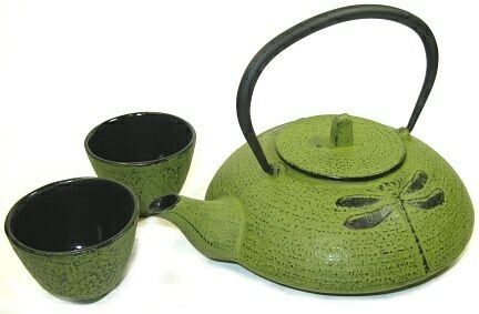Dragonfly Yellow Green Tetsubin Tea Set ~ 21 Oz.