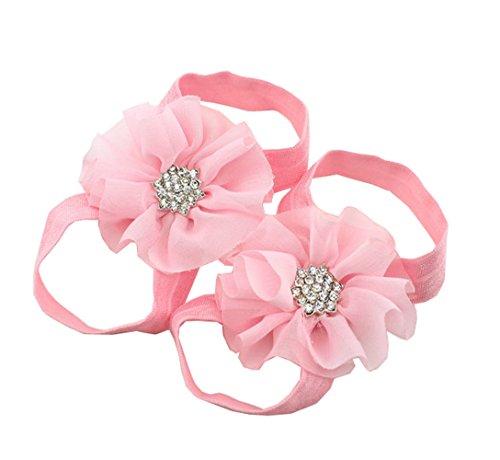 ACVIP Doppia Neonata in Chiffon e Nastro Sandali a Piedi Nudi Fiore Scarpe (rosa chiara)
