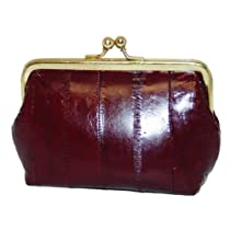 Eel skin Leather Coin Purse Snap Closure #E905
