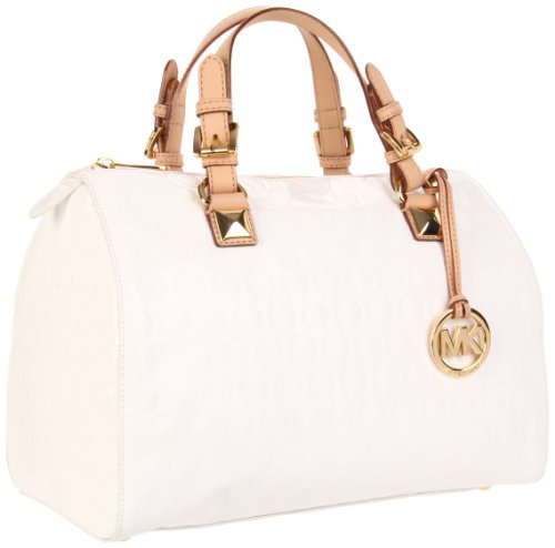 Michael Michael Kors Grayson Large Jet Set Monogram Satchel, WHITE