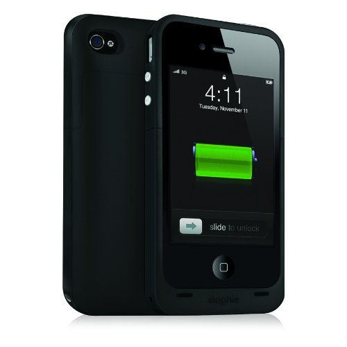 Mophie Juice Pack Plus Case and Rechargeable Battery for iPhone 4 & 4S Retail Packaging (Black) Image