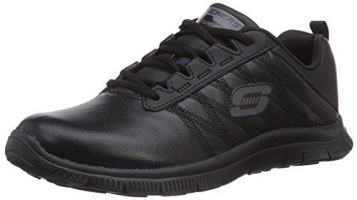 Skechers Flex AppealPure Tone, Low-Top Sneaker donna, Nero (BBK), 38