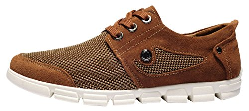 Guqitianlun Mens Rave at Up Mesh Suede Sneakers Boat Shoes(9 D(M)US, Brown)