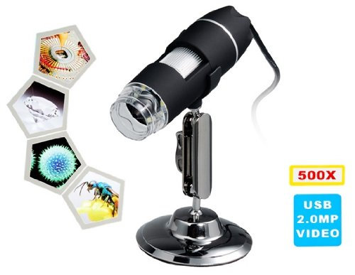 500X Magnification 8-Led Usb Digital Microscope With Stand (Black)