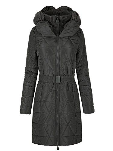 Chaos Theory Girls Kids Quilted Puffer Padded Belted Long Warm Parka Jacket Coat Black 9-10 Years