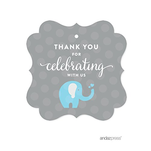Andaz Press Boy Elephant Baby Shower Collection, Fancy Frame Gift Tag, Thank You for Celebrating with Us!, 24-Pack (Baby Food Tags compare prices)